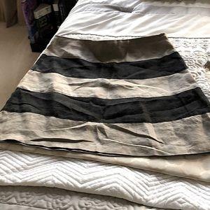 Kenar Skirt black & kaki stripe linen size M